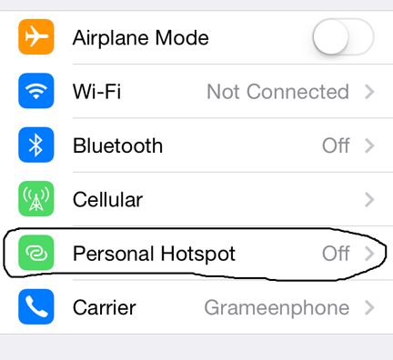 How to setup personal hotspot on iphone 4
