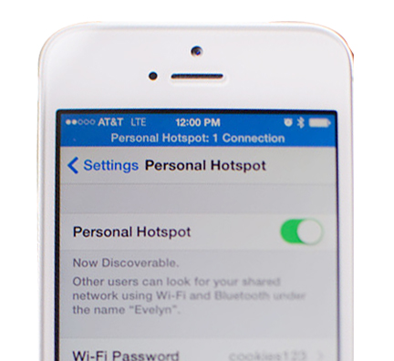 How to setup hotspot on iphone  6 in iOS 8.0.2