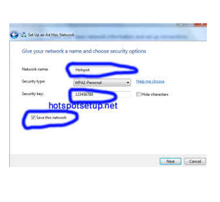 Hotspot setup on laptop in win7